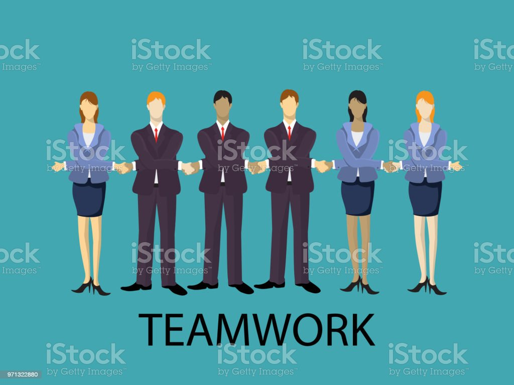 Vector teamwork illustration. Business team are holding hands and...
