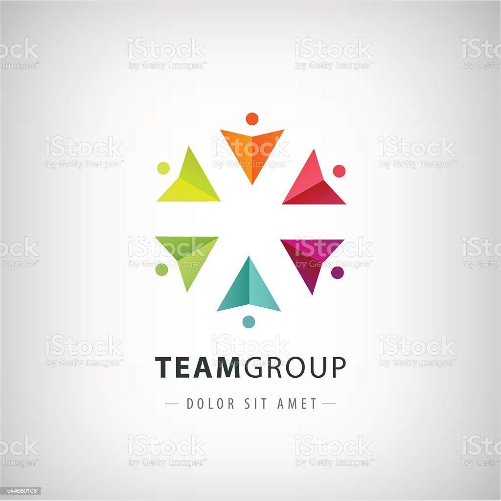 vector teamwork logo, social net, people together icon, vector art illustration