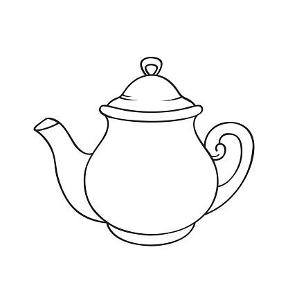 Vector teapot. Line drawing illustration.