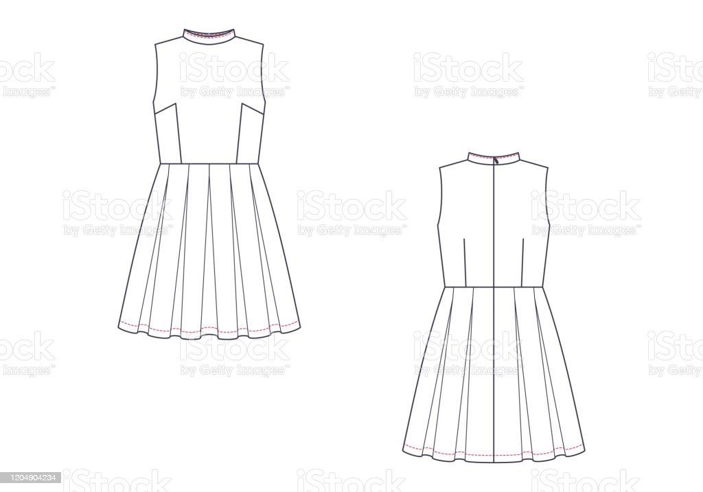 Vector Technical Sketch Of Sleeveless Dress Fashion Template Stock Illustration Download Image Now Istock