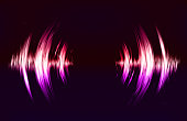 Vector techno background with crcular sound vibration. Resonance. Pulse. cardiogram