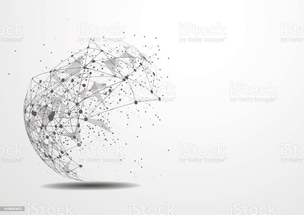 Vector technology concept. Connected Lines and dots. Network sign vector art illustration
