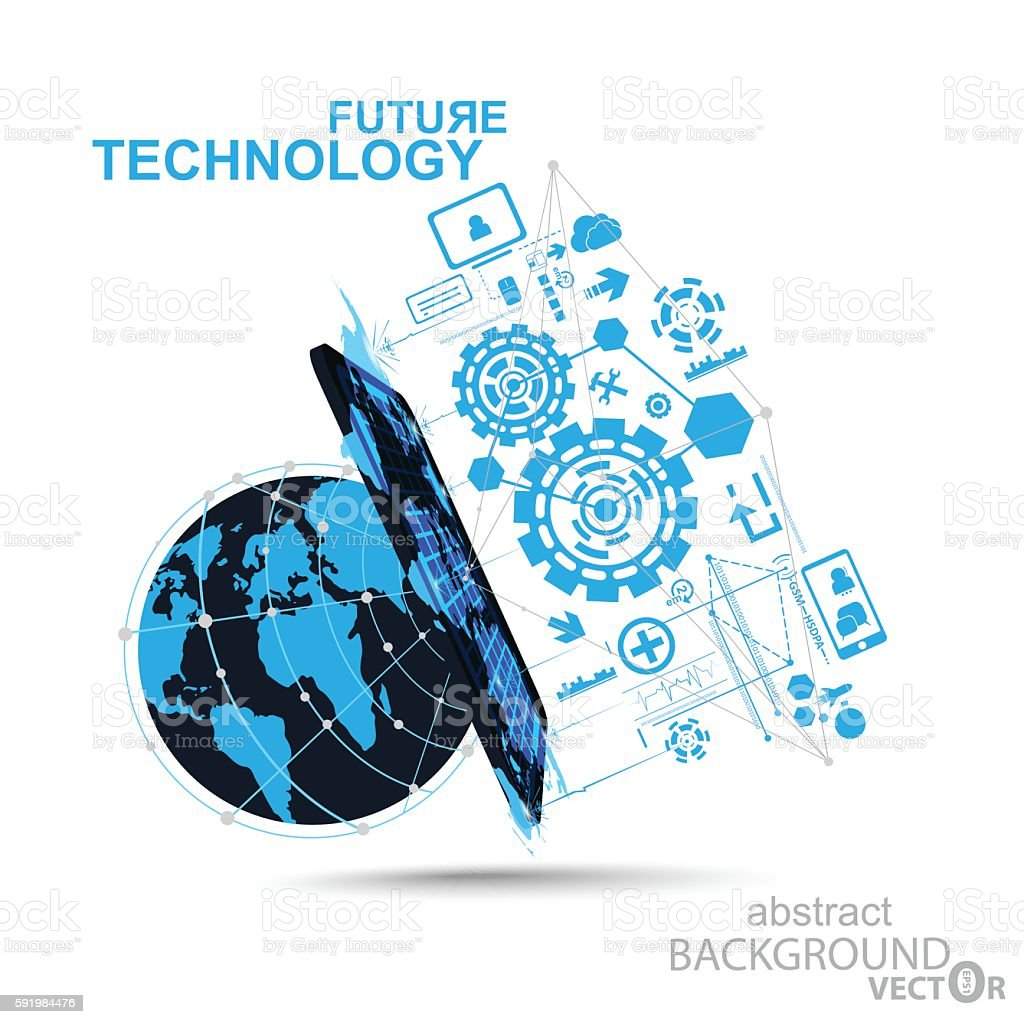 Vector technology innovation global communucation concept for Global design firm