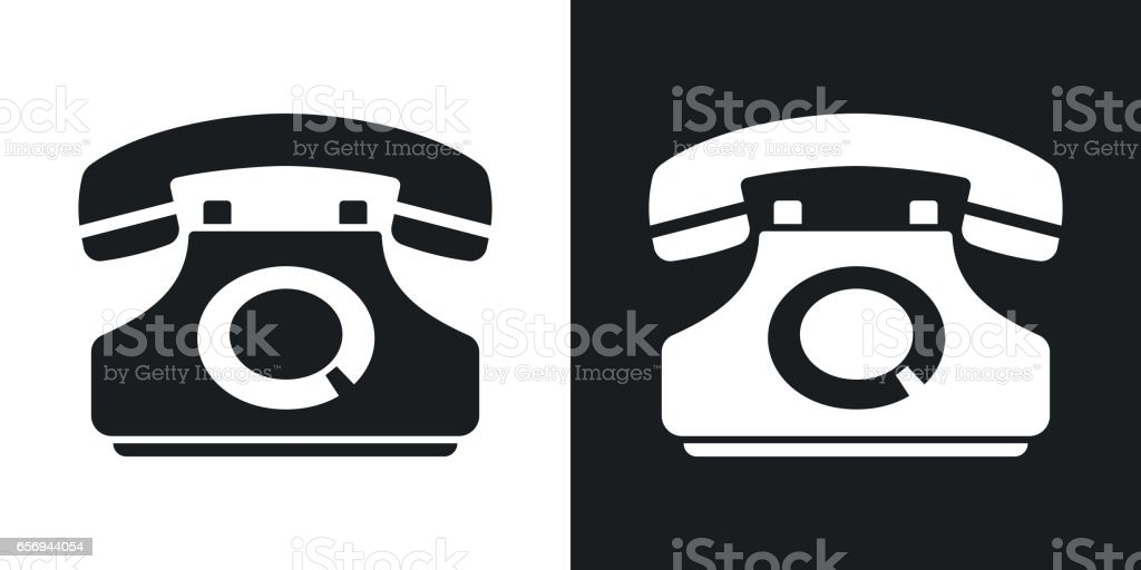 Vector telephone icon. Two-tone version vector art illustration