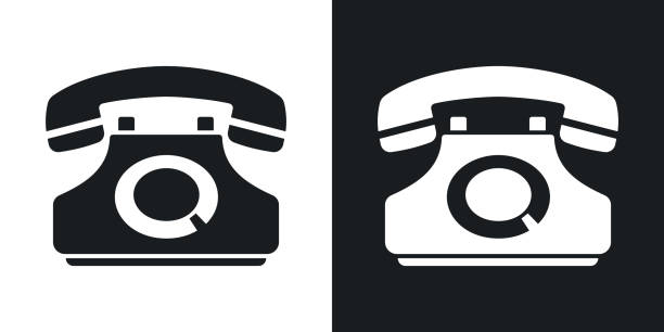 Vector telephone icon. Two-tone version vector art illustration
