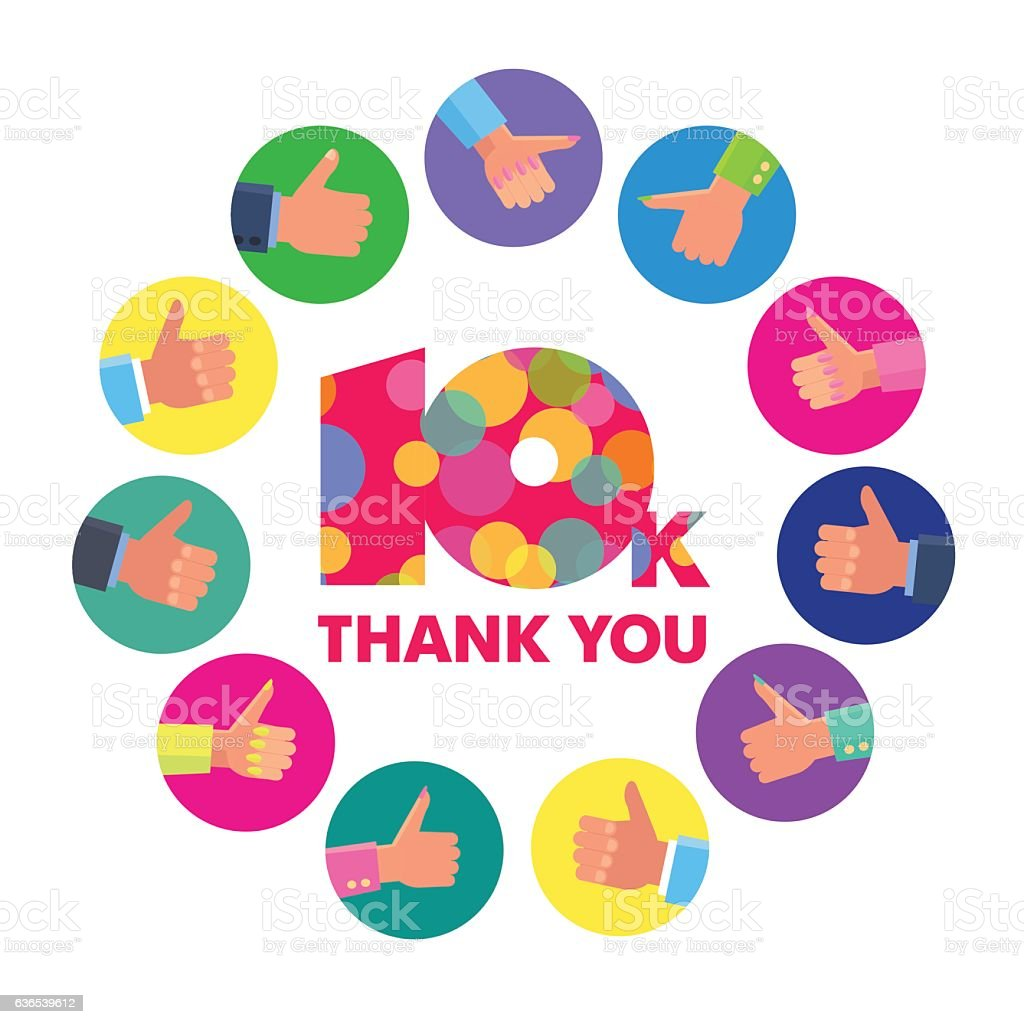Vector Template 10k Thanks Subscribers Greetings Colorful Figures