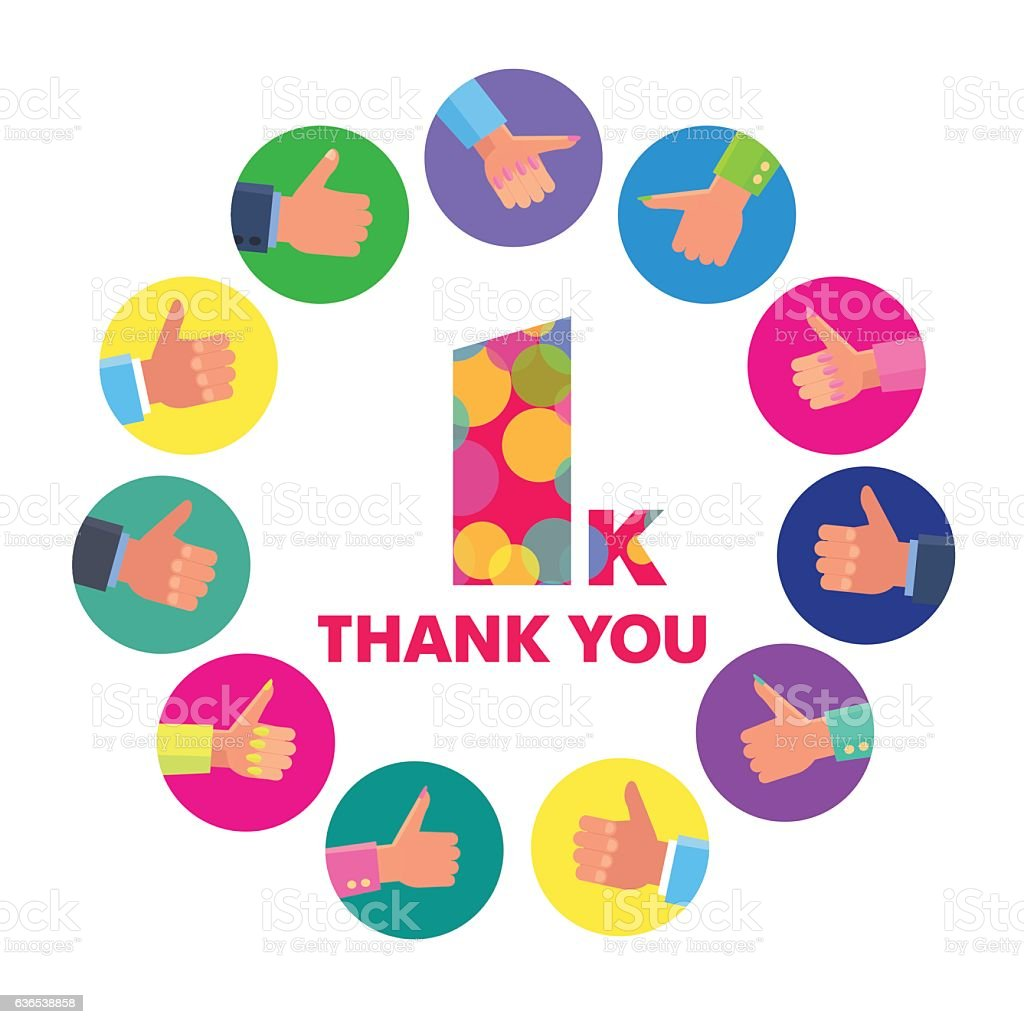 Vector Template 1k Thanks Subscribers Greetings Colorful Figures