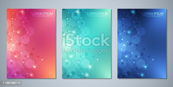 Vector template brochures or cover design, book, flyer, with molecules background and neural network. Abstract geometric background of connected lines and dots. Science and technology concept