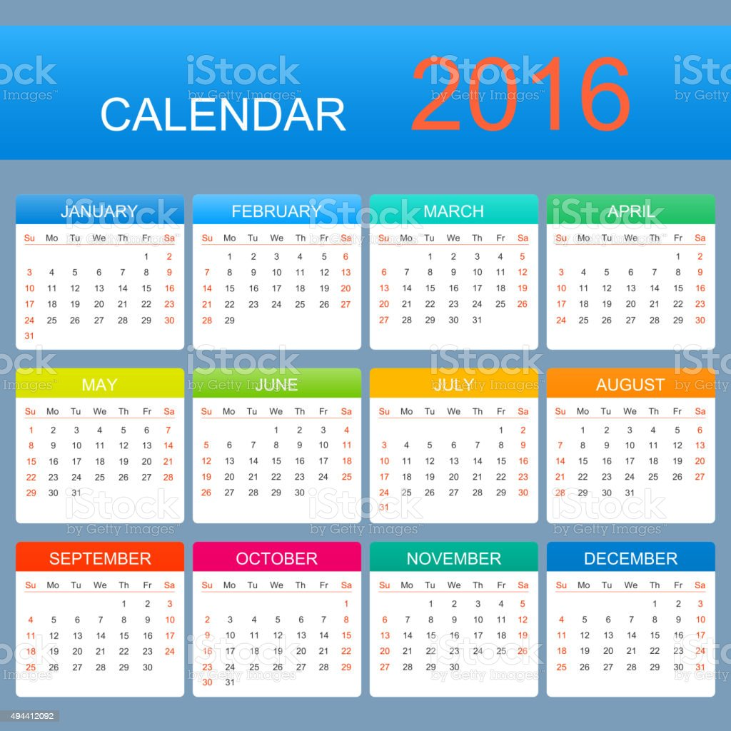 Vector Template Calendar 2016 Years Week Starts With Sunday
