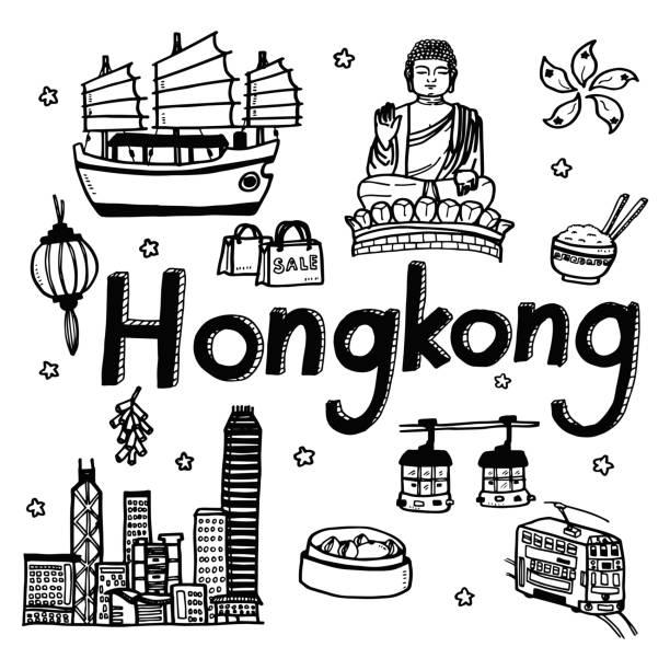 bildbanksillustrationer, clip art samt tecknat material och ikoner med vector mall doodle skiss resor och turist attraktion bakgrund för hongkong - illustrationer med hongkong