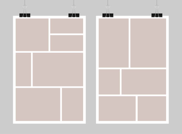 Vector template empty collage board frames, photo. Templates collage frames, photos, parts pictures, illustrations. Vector frame branding presentation. Creative themes with part rectangle border layout. Modern minimalistic mood board mockup. image montage stock illustrations