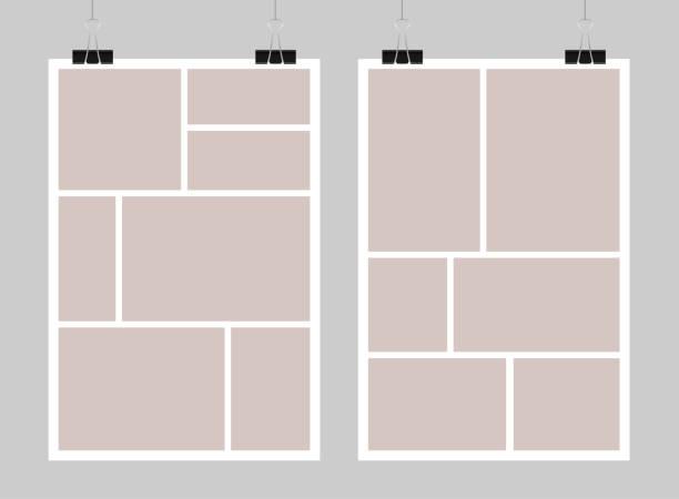 vector template empty collage board frames, photo. - fotografika stock illustrations