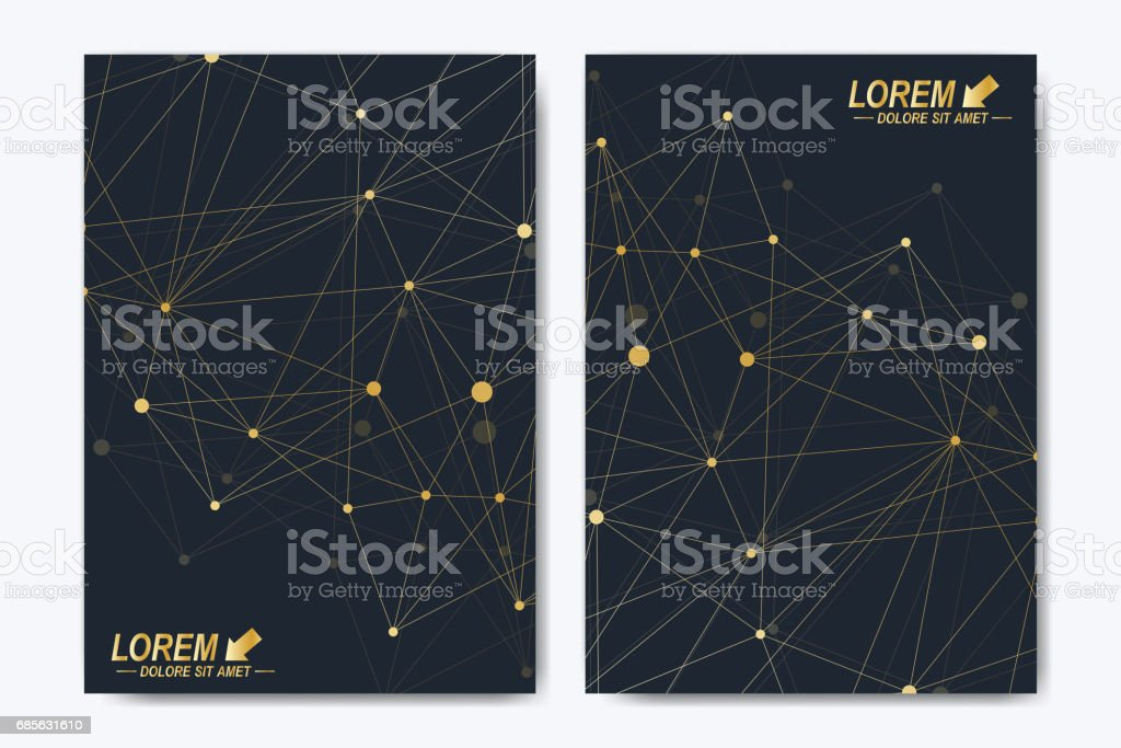 Vector template for brochure, Leaflet, flyer, advert, cover, catalog, magazine or annual report. Geometric background molecule and communication. Golden cybernetic dots. Lines plexus. Card surface 免版稅 vector template for brochure leaflet flyer advert cover catalog magazine or annual report geometric background molecule and communication golden cybernetic dots lines plexus card surface 向量插圖及更多 一年生植物 圖片
