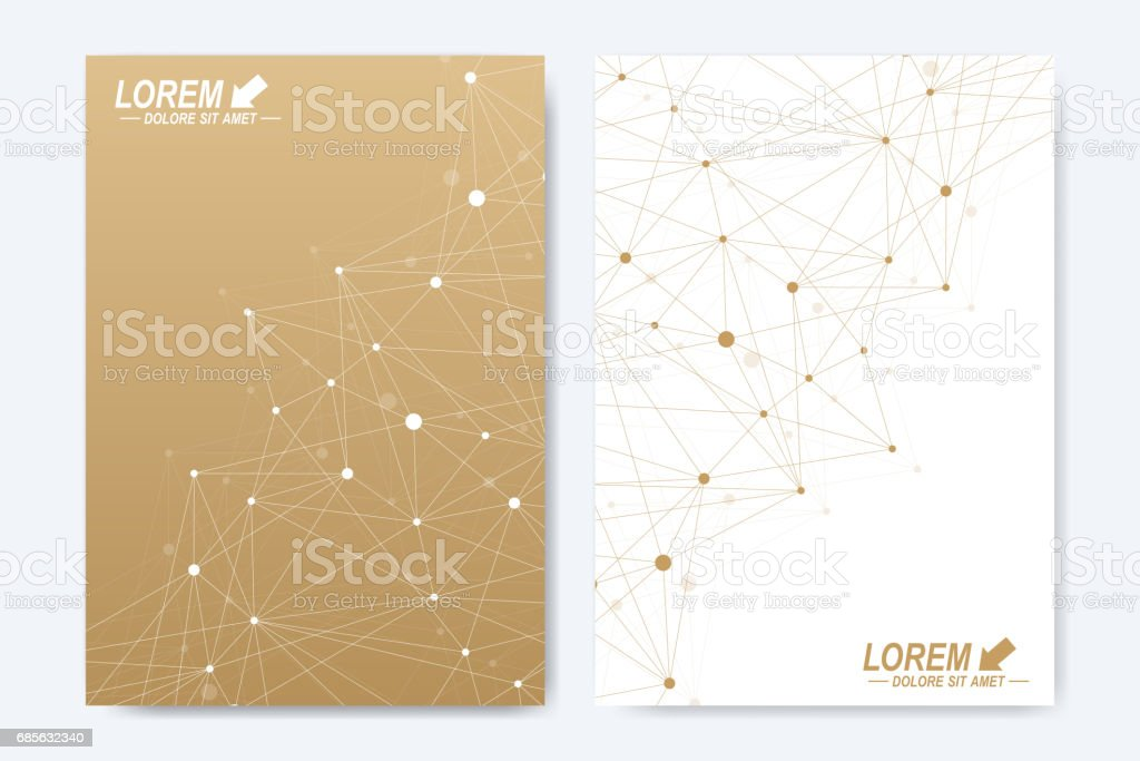 Vector template for brochure, Leaflet, flyer, advert, cover, catalog, magazine or annual report. Geometric background molecule and communication. Golden cybernetic dots. Lines plexus. Card surface 免版稅 vector template for brochure leaflet flyer advert cover catalog magazine or annual report geometric background molecule and communication golden cybernetic dots lines plexus card surface 向量插圖及更多 connect the dots - 英文諺語 圖片
