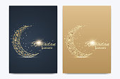 Vector template for brochure, Leaflet, flyer, advert, cover, catalog, poster, magazine or annual report. Ramadan Kareem background. Golden moon. Eid Mubarak celebration. Vector illustration