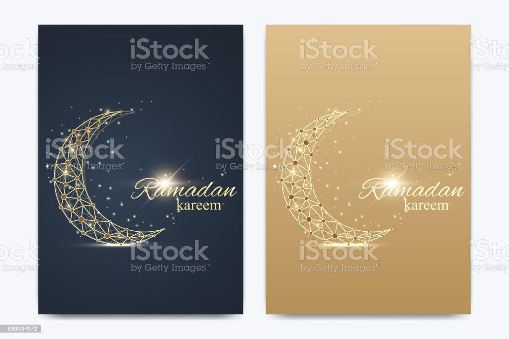 Vektor-Vorlage für die Broschüre, Broschüre, Flyer, Werbung, Abdeckung, Katalog, Plakat, Magazin oder jährlichen Bericht. Ramadan Kareem Hintergrund. Goldener Mond. Eid Mubarak fest. Vektor-illustration – Vektorgrafik