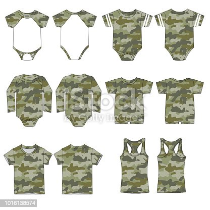 Vector template for Camouflage style Children's clothes