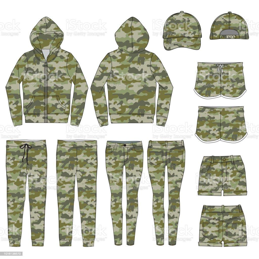 迷彩スタイル衣服のベクトル テンプレート アメリカ合衆国のベクター