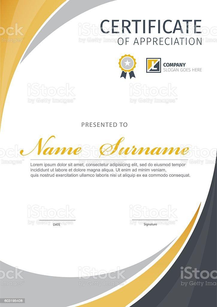 Vector template for certificate. vector art illustration