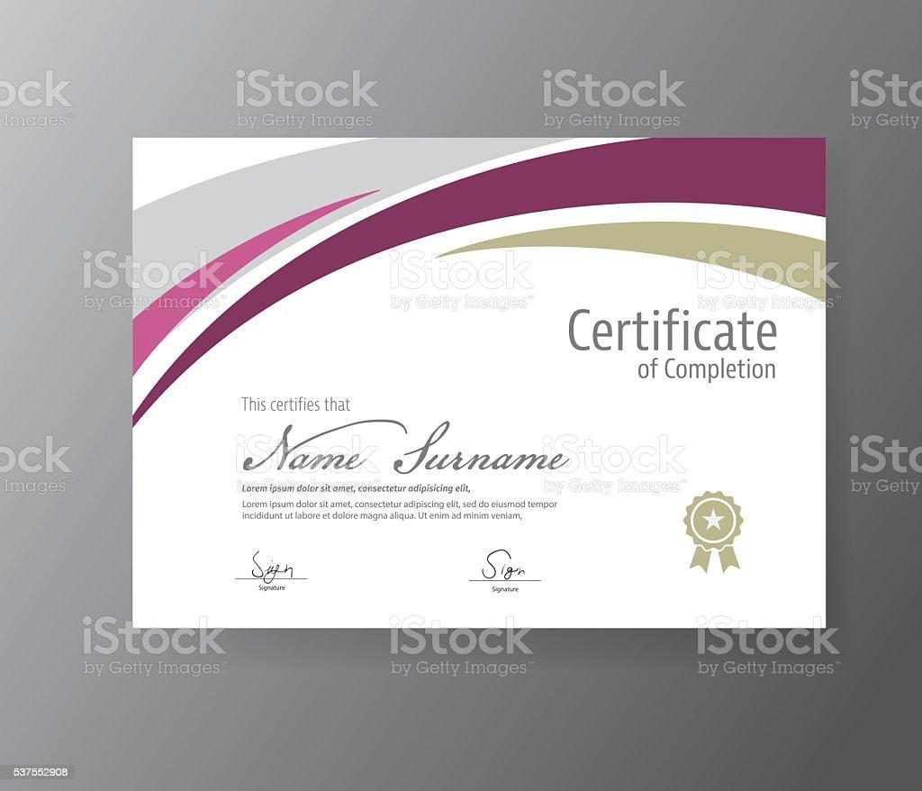 Ilustración de Vector De De Plantilla De Certificado Moderna Diploma ...