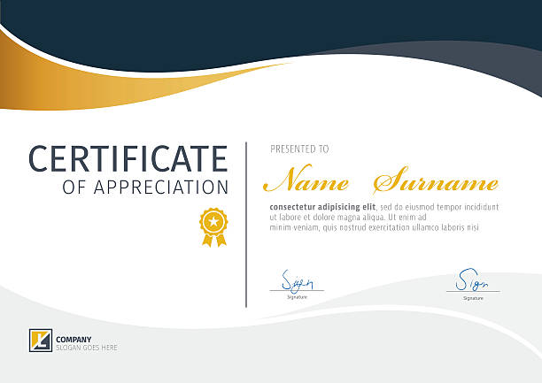 vector template for certificate,modern diploma - certificate and awards frames stock illustrations, clip art, cartoons, & icons