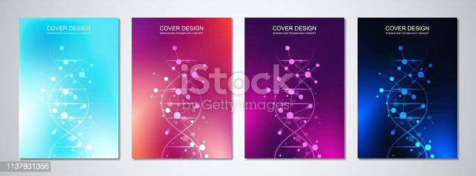 istock Vector template for cover or brochure, with molecules background and DNA strand. Medical or scientific and technological concept. 1137931355