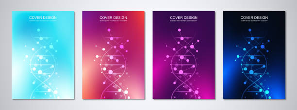 Vector template for cover or brochure, with molecules background and DNA strand. Medical or scientific and technological concept. Vector template for cover or brochure, with molecules background and DNA strand. Medical or scientific and technological concept helix model stock illustrations