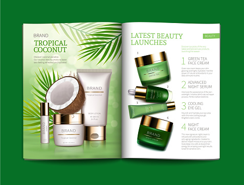 Vector template for glossy cosmetic magazine