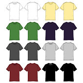 Various colored men's short sleeve t-shirts