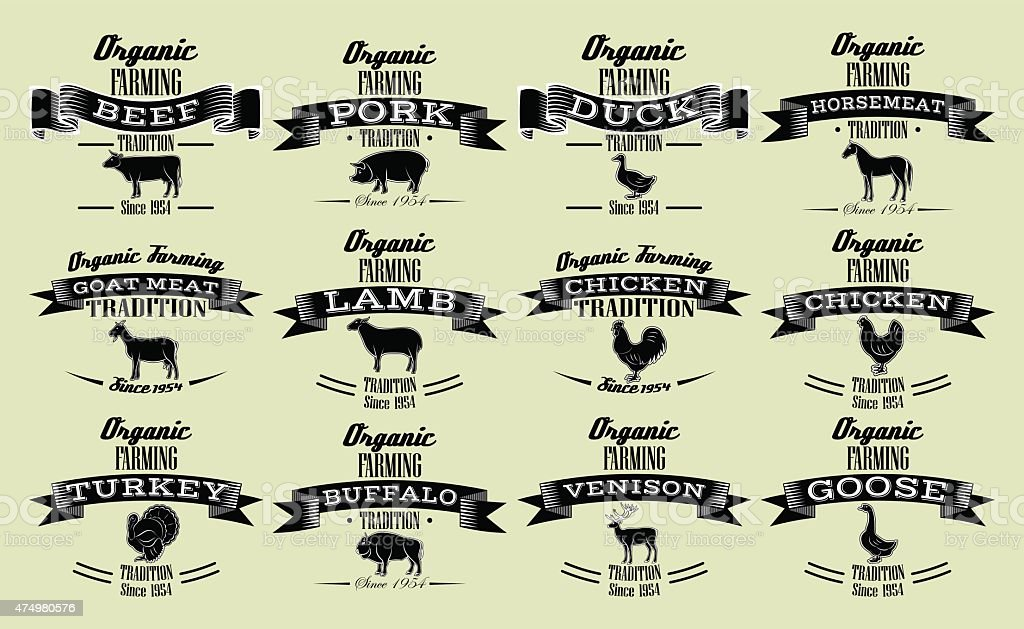 vector template for packaging with livestock and poultry vector art illustration