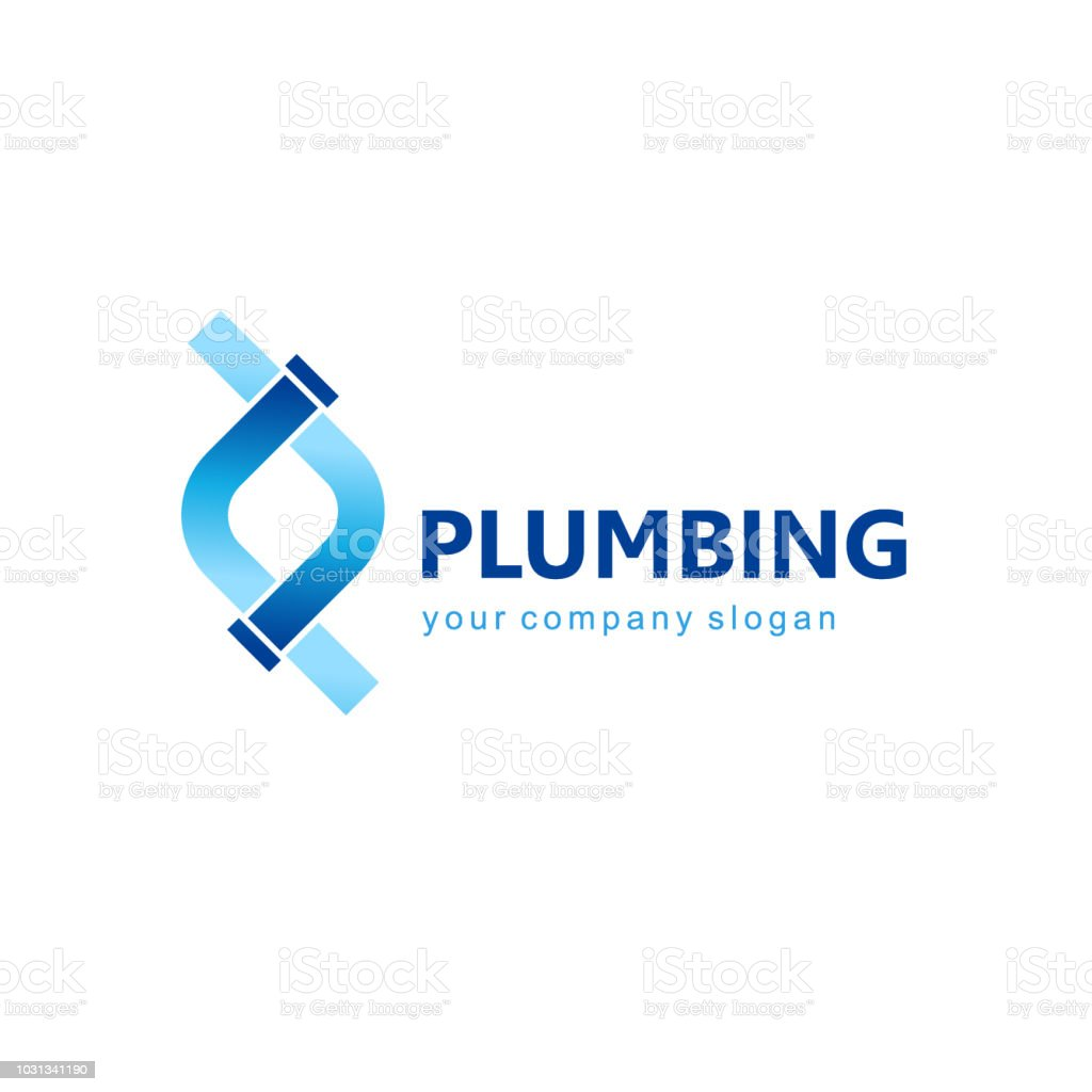 Vector template for plumbing company.  Water pipes sign vector art illustration