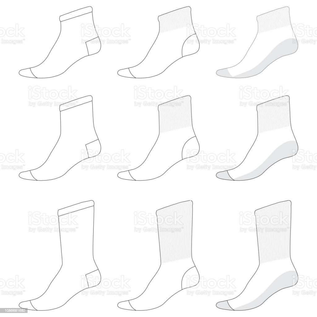 Vector Template For Various Types Of Socks Stock Illustration Download Image Now Istock