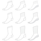 Vector template for various types of Socks