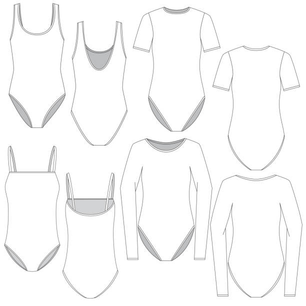 vektor vorlage für verschiedene frauen body style bekleidung - catsuit stock-grafiken, -clipart, -cartoons und -symbole