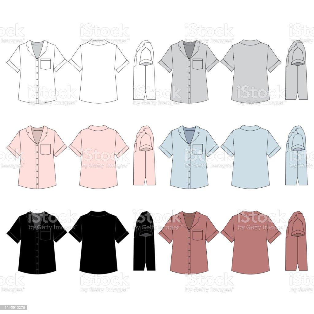 Vector Template For Womens Sleepwear Tops Stock Illustration