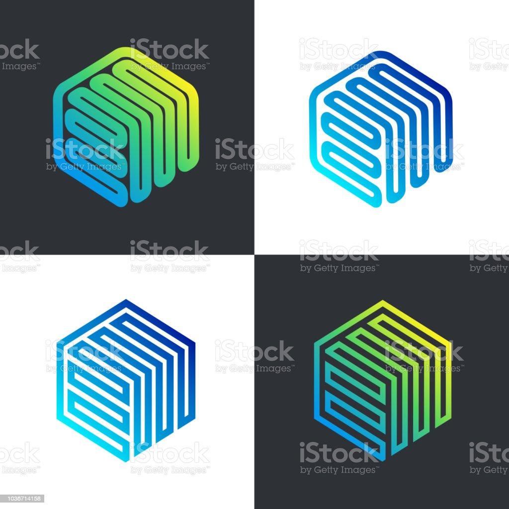 Vector template hexagon design. Tech box, smart box vector art illustration