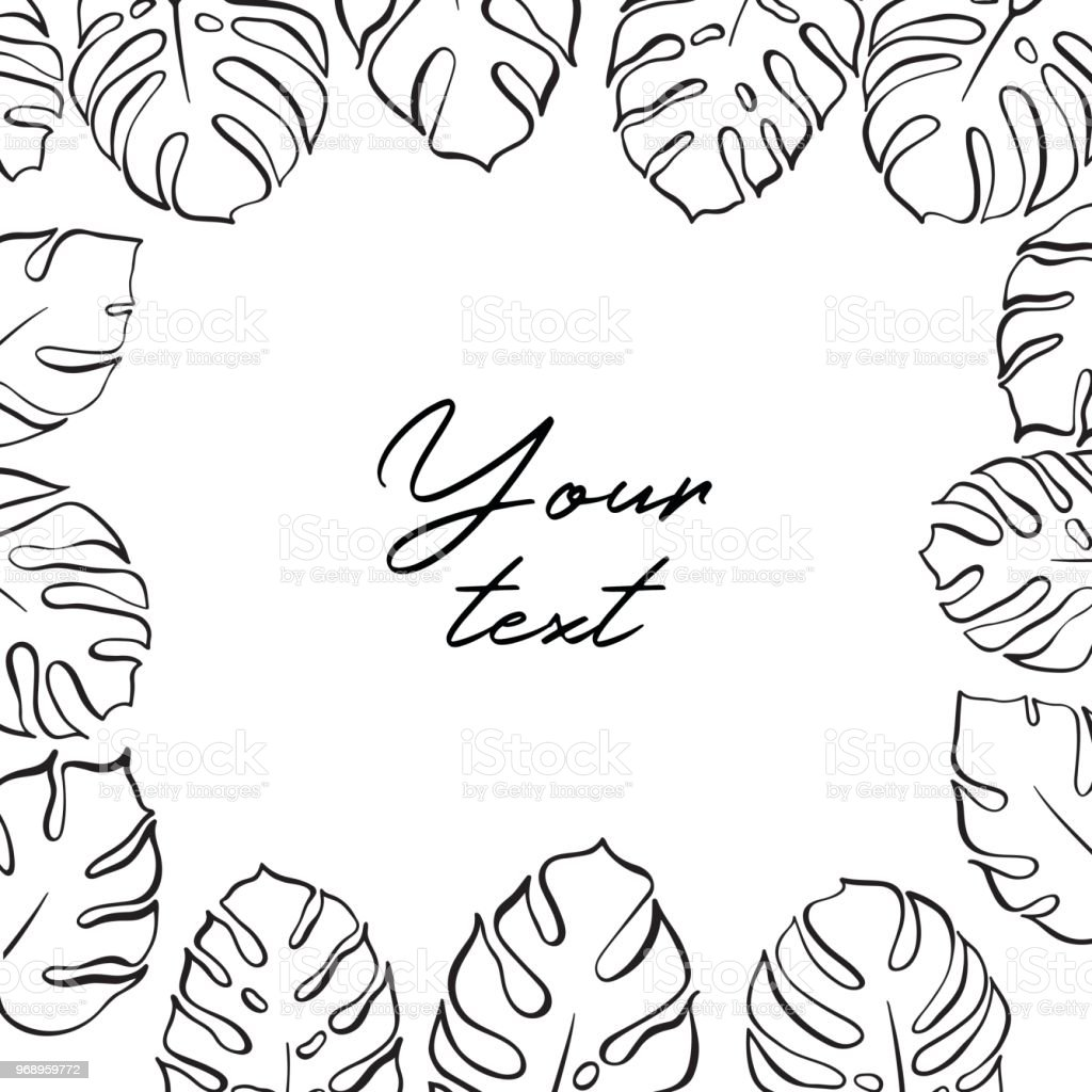 Vector Template Illustration With Monstera Leaf Stock Illustration Download Image Now Istock You can download the invitation template in word for free, install the fonts and edit the information as you wish. vector template illustration with monstera leaf stock illustration download image now istock