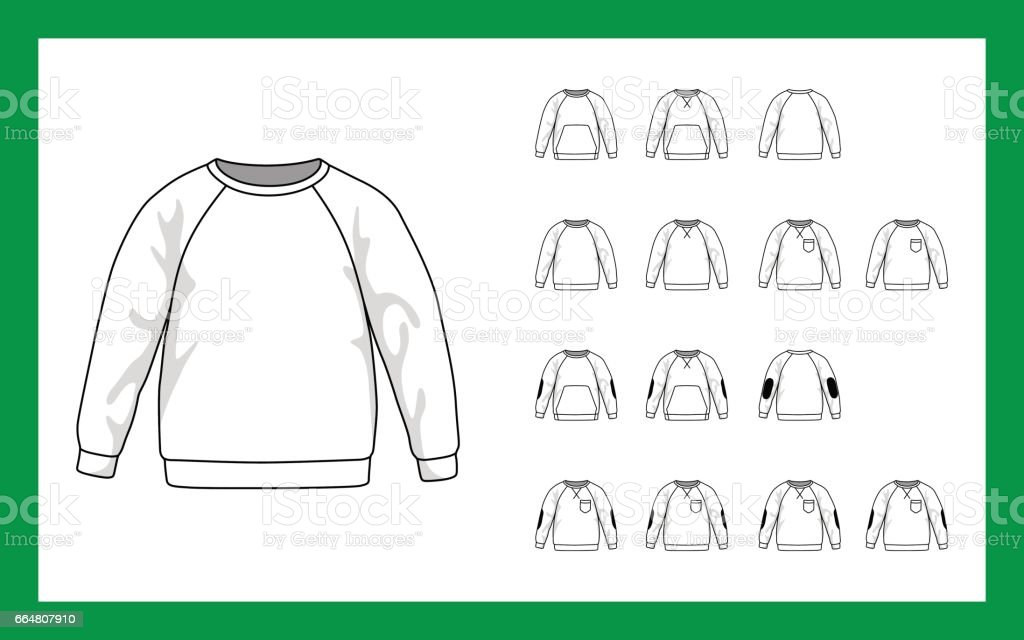 Vector template illustrations kids sweatshirt with sleeves raglan cuffs pockets stripe on elbows vector art illustration