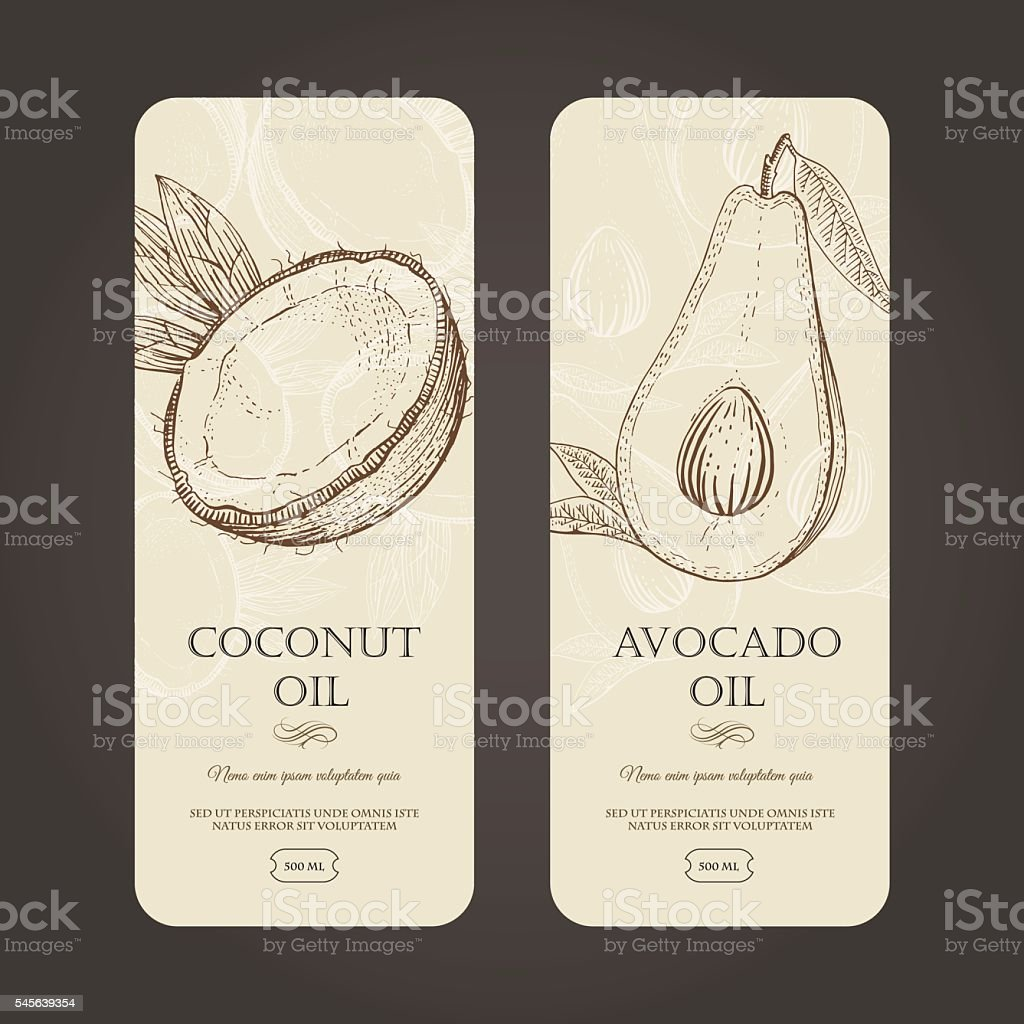 Vector template labels for coconut and avocado oils. vector art illustration