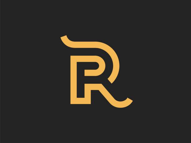 bildbanksillustrationer, clip art samt tecknat material och ikoner med bokstaven r för vektor mal len. utformningen av tecknet i en linjär stil. - lyxig monogram