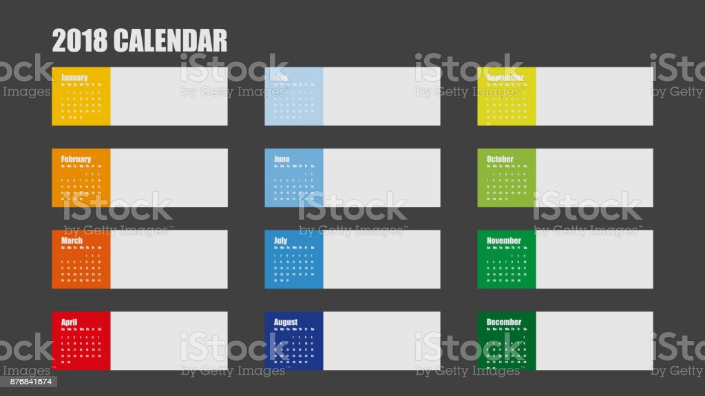 vector template of 2018 new year calendar in clean minimal table simple style colorful red blue