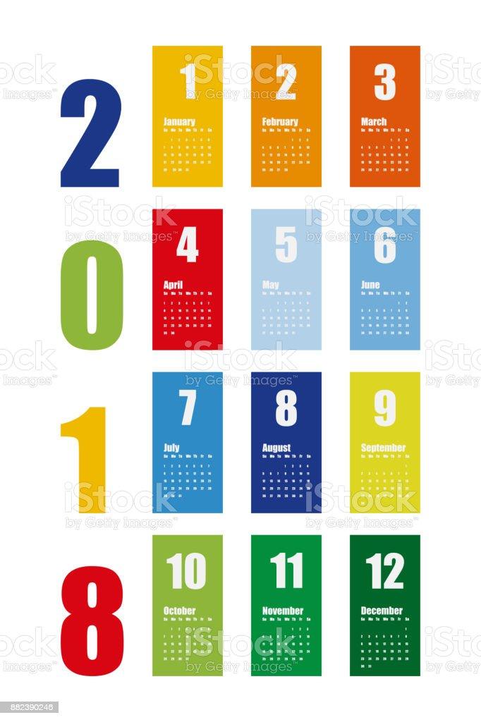 Vector de plantilla de calendario de año nuevo 2018 en estilo simple de  tabla limpia mínimo a92210bd5f075