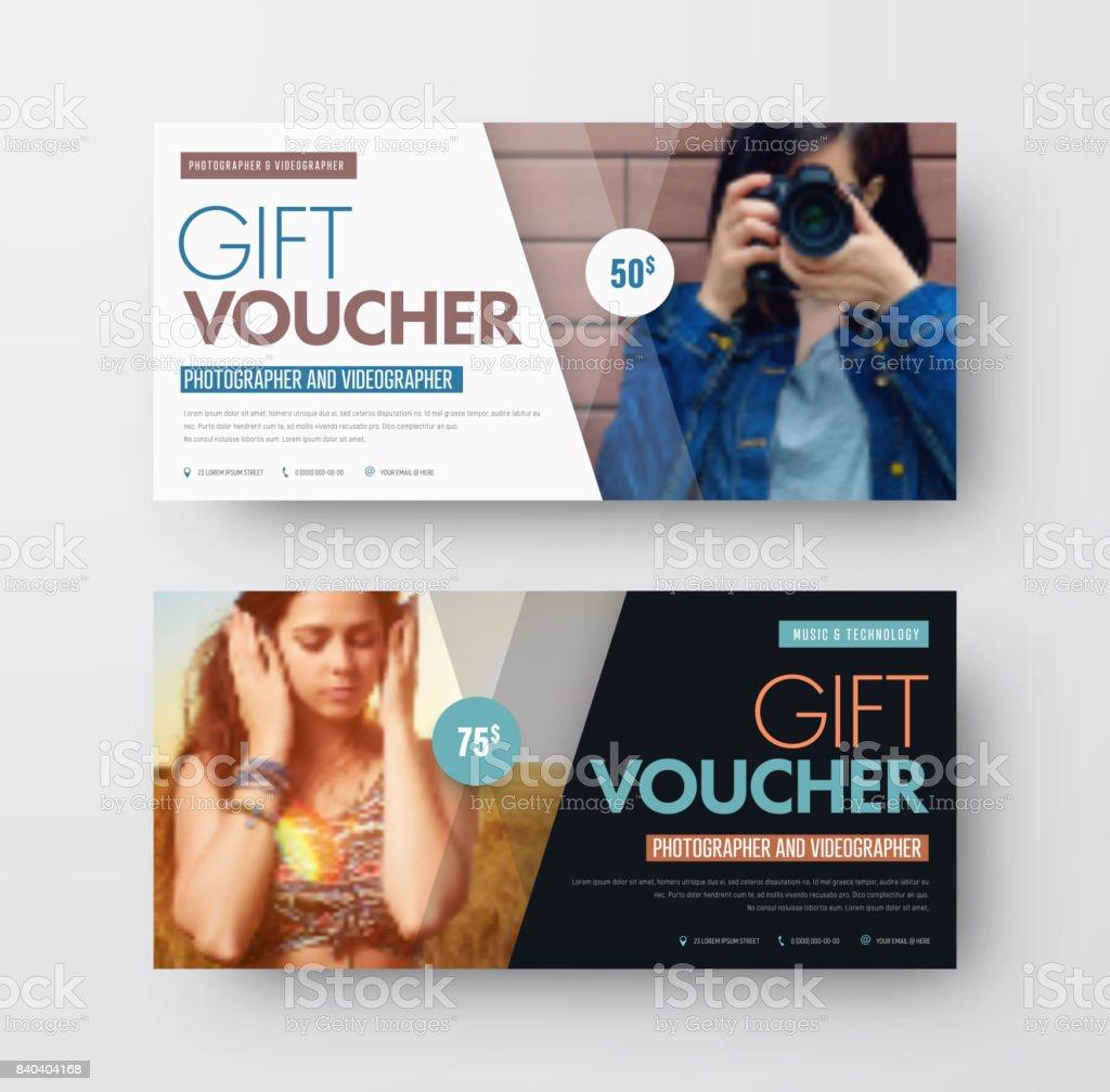Vektor Vorlage eines Geschenkgutscheins schwarz-weiß mit diagonalen Linien und einen Platz für ein Foto – Vektorgrafik
