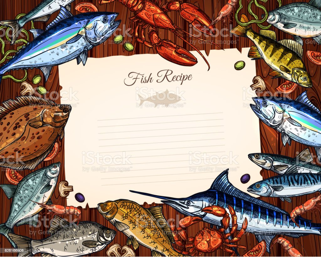 Vector template of blank paper for fish recipe vector art illustration