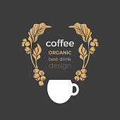 Vector template.  of coffee tree, cup, bean