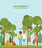 Vector template of flyers. Summer children's camping.