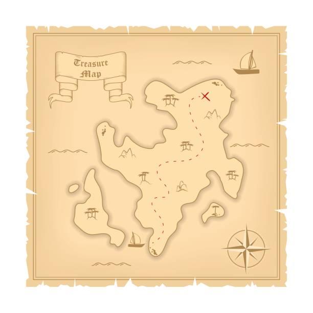 ilustrações, clipart, desenhos animados e ícones de vetor modelo de pirata velho mapa do tesouro. ilustração de papel vintage estilizado manuscrito - mapas de tesouro