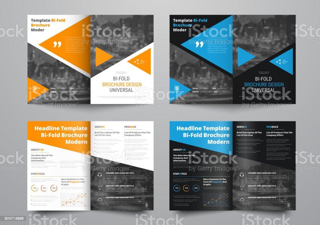 Vektor Vorlage von weißen und schwarzen Bi-Fold-Broschüre mit farbigen Elementen und Platz für Foto. – Vektorgrafik