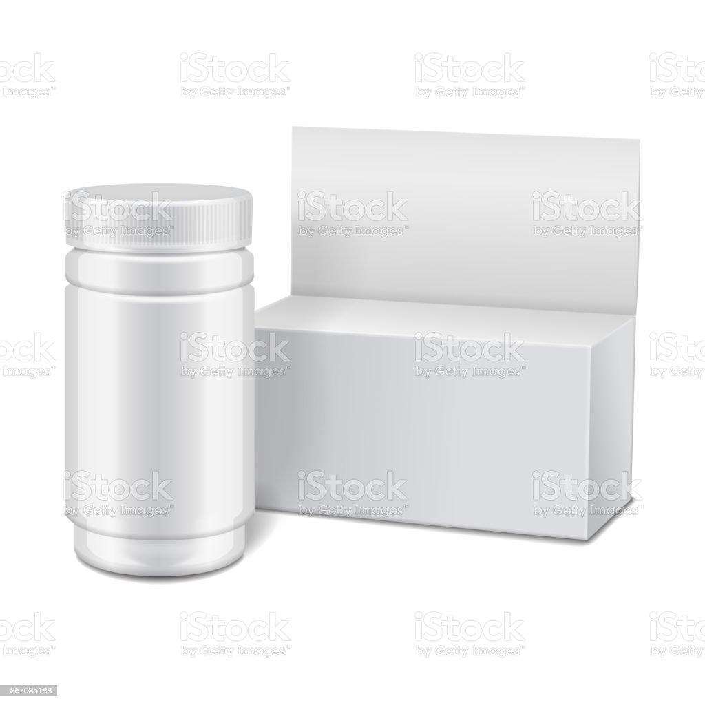 Vektor Vorlage Weiße Kunststoffflasche Mit Schraubverschluss Und ...