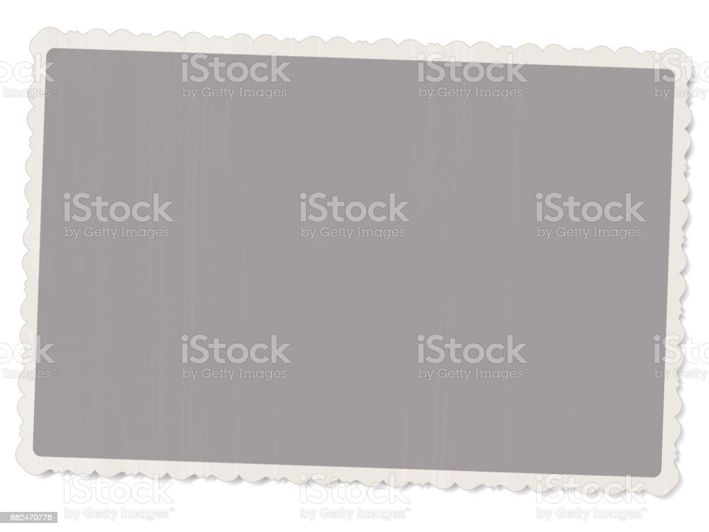 vector template old vintage photo with patterned edges isolated on white background with shadow for design vector art illustration